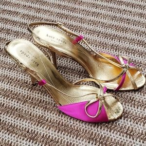 Kate Spade Faux Snakeskin & Satin Strap Heels